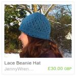 Blue Lace Beanie Hat