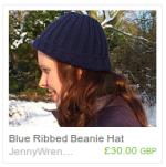 Blue Ribbed Beanie