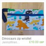 Dinosaurs zip wristlet