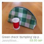 Green check dumpling zip pouch