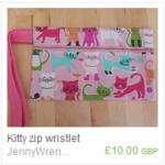 Kitty zip wristlet