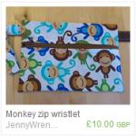Monkey zip wristlet