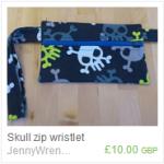 Skull zip wristlet